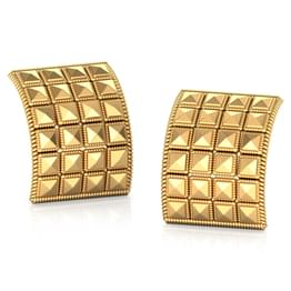 Edgy Square Gold Stud Earrings