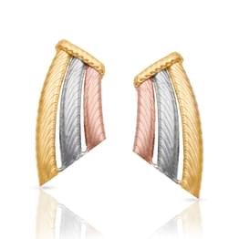 Three Tone Texture Gold Stud Earrings