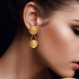 Encircled Scroll Gold Drop Earrings