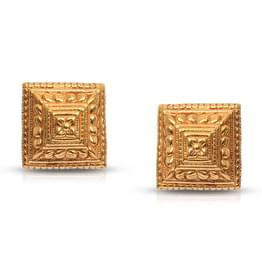 Embossed Floret Gold Stud Earrings