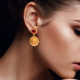 Dome Petals Gold Drop Earrings