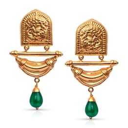 Ornate Jharokha Gold Drop Earrings