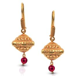 Edgy Dome Gold Drop Earrings