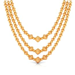 Tri Line Beads Gold Necklace