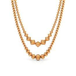 Duo-Line Beads Gold Necklace