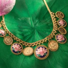 Raima Lotus and Coin Gold Necklace