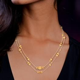 Abstract Two-Line Bead Gold Necklace