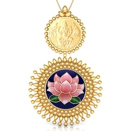 Kajal Lotus and Coin Gold Pendant