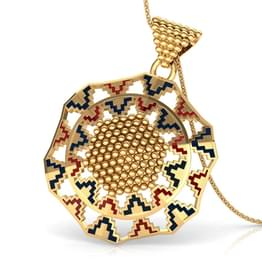 Grainy Hex Gold Pendant