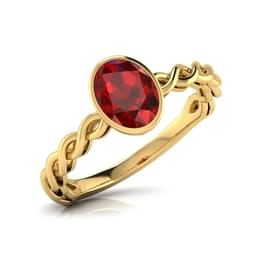 Wave Garnet Birthstone Ring