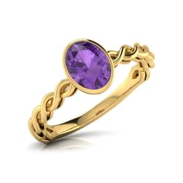 Wave Amethyst Birthstone Ring