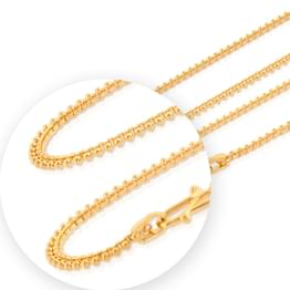 Box And Bead Link Gold Chain
